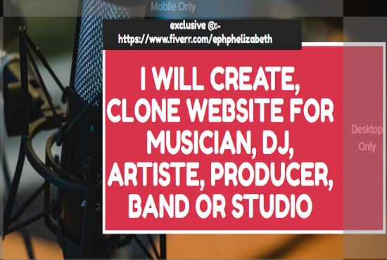 Create stunning music website for musician, dj, artist, producer or band, FiverrBox
