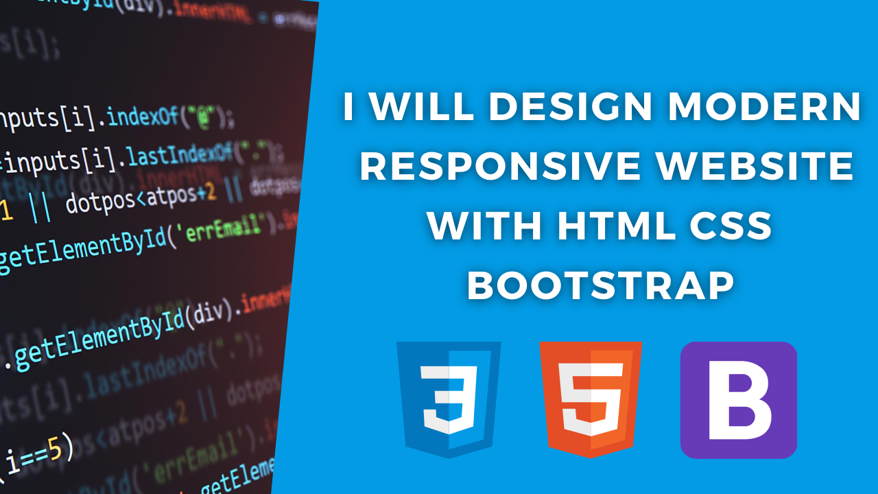 I will design modern responsive website with HTML css bootstrap, FiverrBox