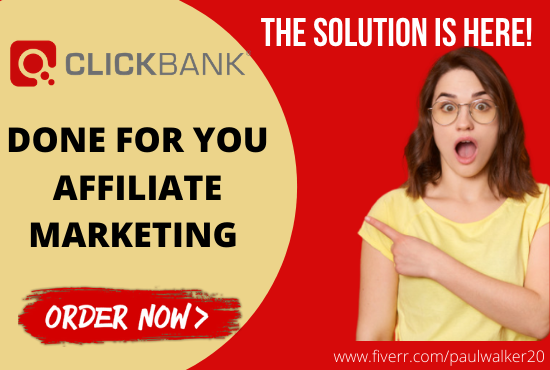 I will build clicbank affiliate marketing sales funnel landing page for passive income, FiverrBox