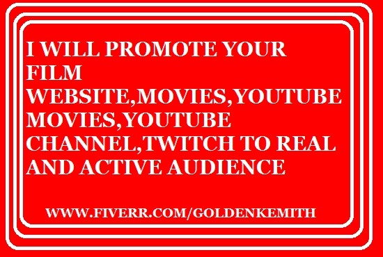 I will promote film,grow youtube video,channel,spotify promotion and marketing to USA, FiverrBox