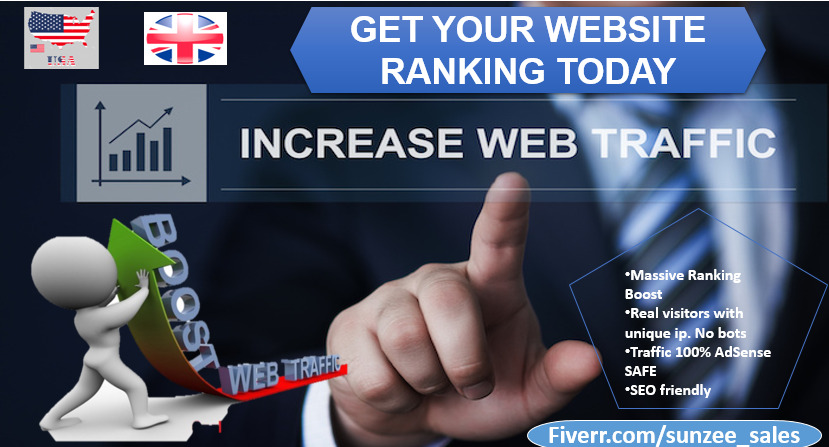 I will drive organic targeted website traffic, website ranking promotion real visitors, FiverrBox