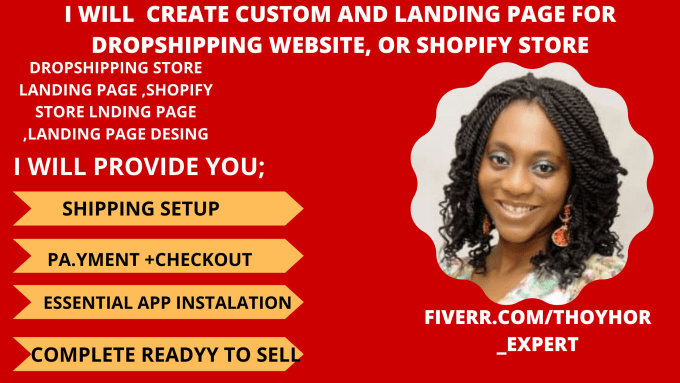 I will create a custom landing page for your shopify dropshipping store and website, FiverrBox