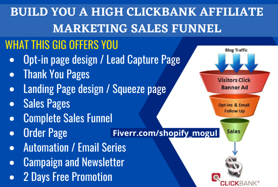 I will build you a High ClickBank Affiliate Marketing Sales Funnel, Landing, FiverrBox