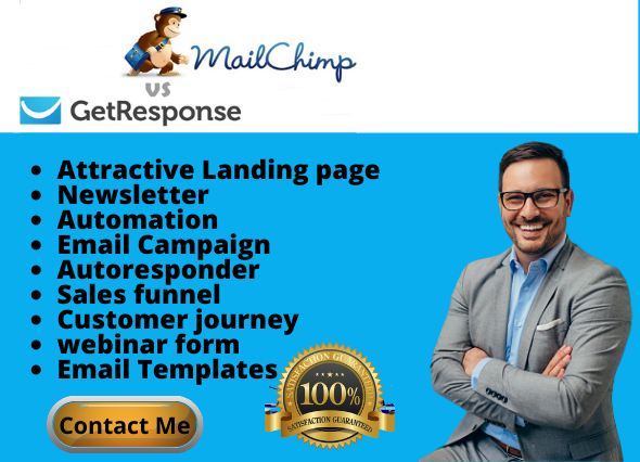 I will do mailchimp landing page, getresponse landing page, mailchimp automation, FiverrBox