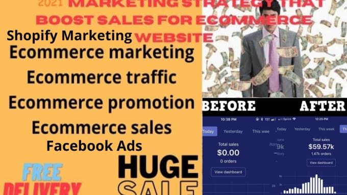 I will consistently sales with ecommerce marketing shopify marketing, facebook ads, FiverrBox