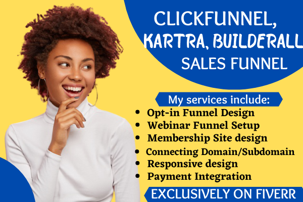 I will build clickfunnel, wordpress, kartra, builderall, landing page, or sales funnel, FiverrBox