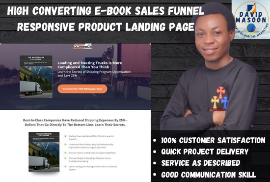 I will build high converting ebook sales funnel or product landing page, FiverrBox