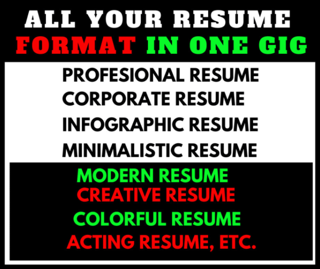 I will design 5 different professional resume writing service, FiverrBox