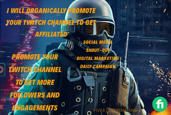 I will Do organic Twitch channel promotion for your channel to help boost engagements, FiverrBox