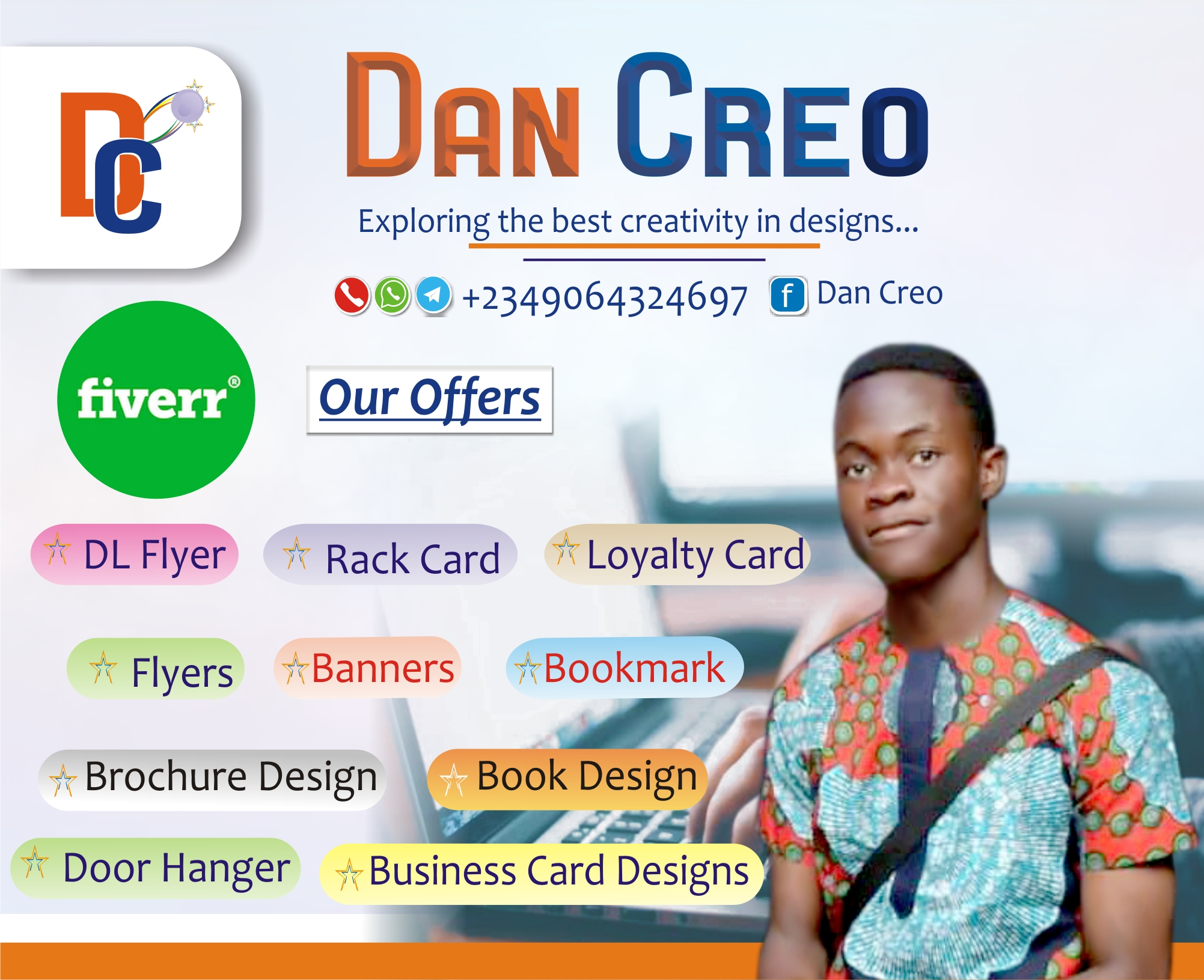 I will design a modern, unique, creative and professional DL Flyer, Flyer, Rack card, Post card, and Loyalty Card in less than 12hours, FiverrBox