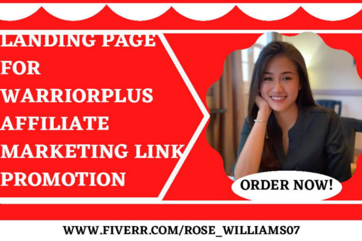 I will do a landing page for warriorplus affiliate marketing link promotion, FiverrBox