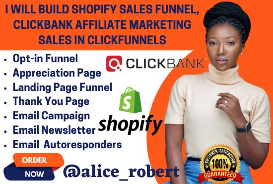 I will build shopify sales funnel, clickbank affiliate marketing sales in clickfunnels, FiverrBox