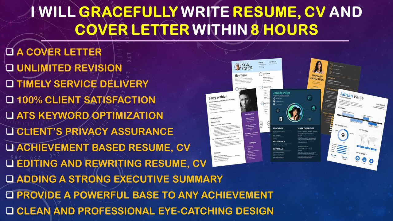 I will gracefully write resume, cv and cover letter within 8 hours, FiverrBox