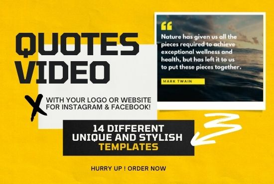create motivational quotes video for instagram with music and your logo, FiverrBox