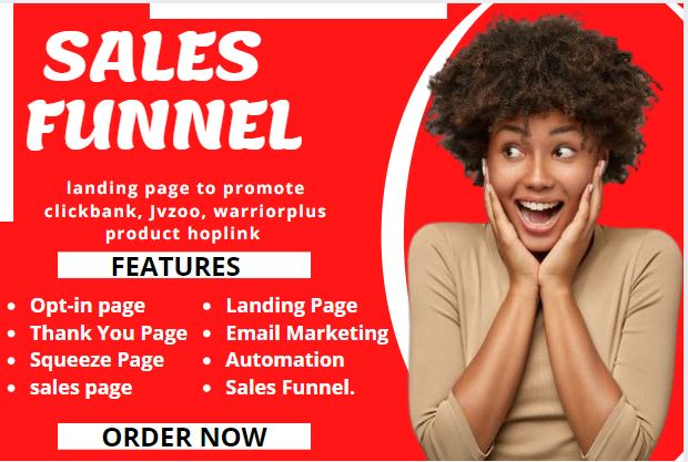 I will set up sales funnel, landing page to promote clickbank, jvzoo,, FiverrBox