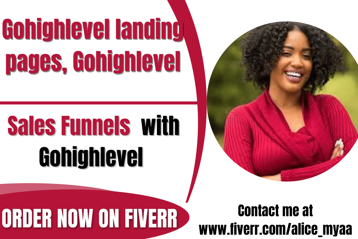 I will build gohighlevel landing pages, gohighlevel sales funnels with gohighlevel, FiverrBox