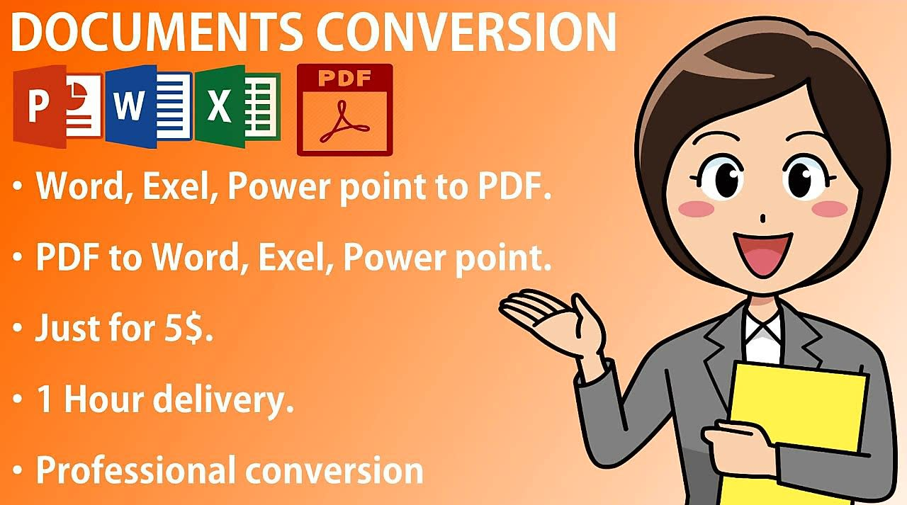 I will do PDF file conversion to word, excel, and proofreading, FiverrBox