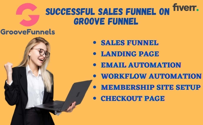 I will create successful sales funnel on groove funnel, groove funnel landing page, FiverrBox