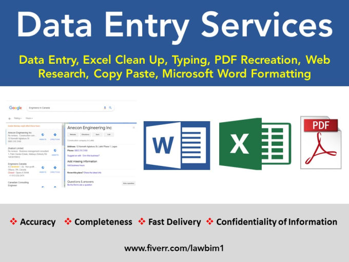 I will do data entry, excel, manual data typing, copy paste work, FiverrBox