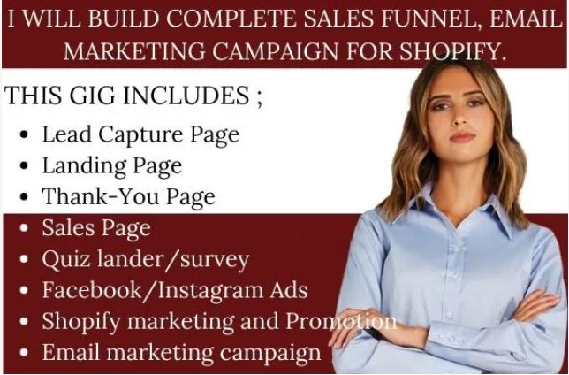 I will build complete sales funnel, email marketing campaign for shopify, FiverrBox