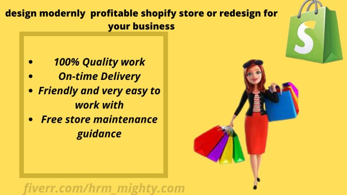 I will design modernly profitable shopify store or redesign for your business, FiverrBox