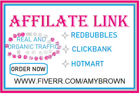 I will do clickbank, affiliate link promotion, redbubble, digistore, amazon to USA, FiverrBox