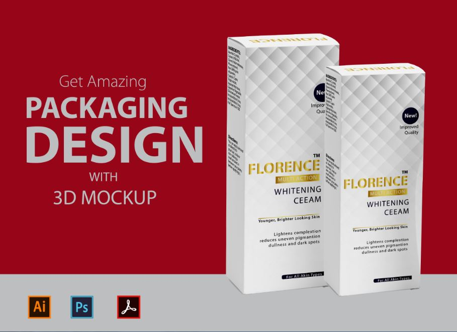 I will create packaging design with die cut and 3d mockup, FiverrBox