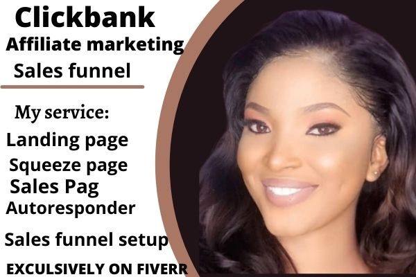 I will build clickbank affiliate marketing sales funnel, landing page sales funnel, FiverrBox