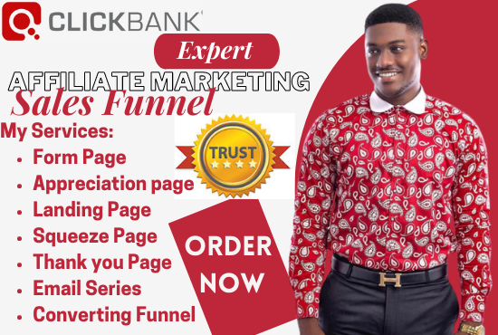 I will clickbank affiliate marketing sales funnel, shopify landing page in clickfunnels, FiverrBox