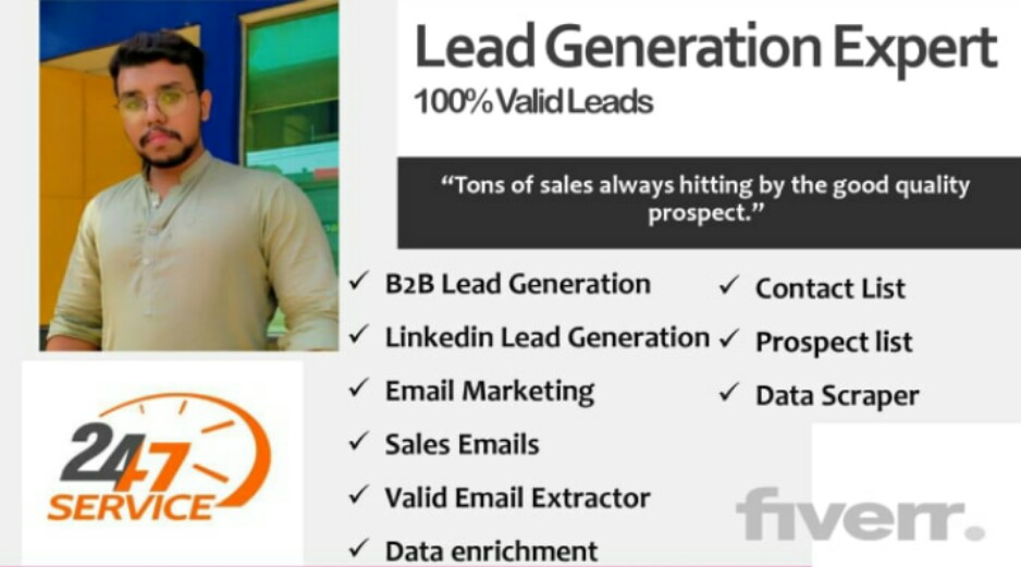 I will provide b2b lead generation with valid contact information, FiverrBox