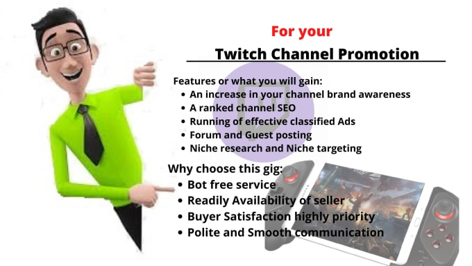I will do organic twitch promotion for twitch channel to grow twitch, FiverrBox