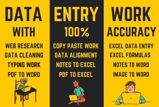 I will do excel data entry web research, copy paste and typing, FiverrBox