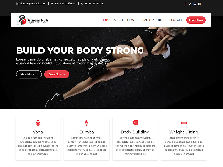 I will design attractive fitness, sports, gym, workout website design attractive fitness,, FiverrBox