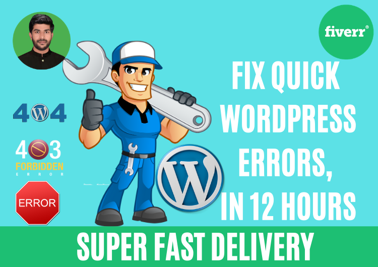 I will fix wordpress errors, issues, and bugs in 12 hours, FiverrBox