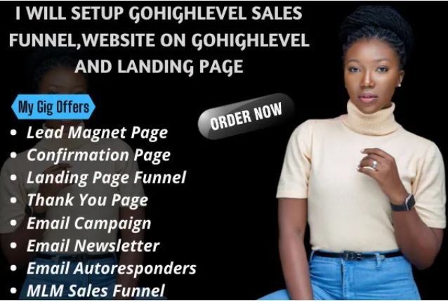 I will set up gohighlevel sales funnel, website on gohighlevel and, FiverrBox