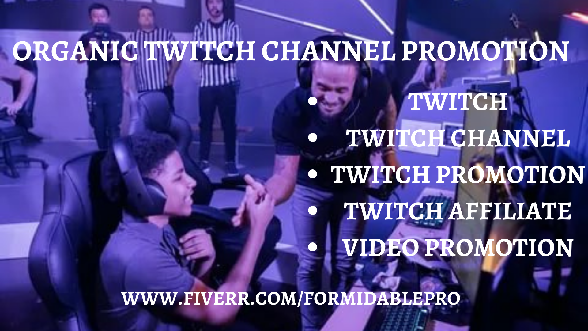 I will do organic twitch promotion to real and active audience, FiverrBox