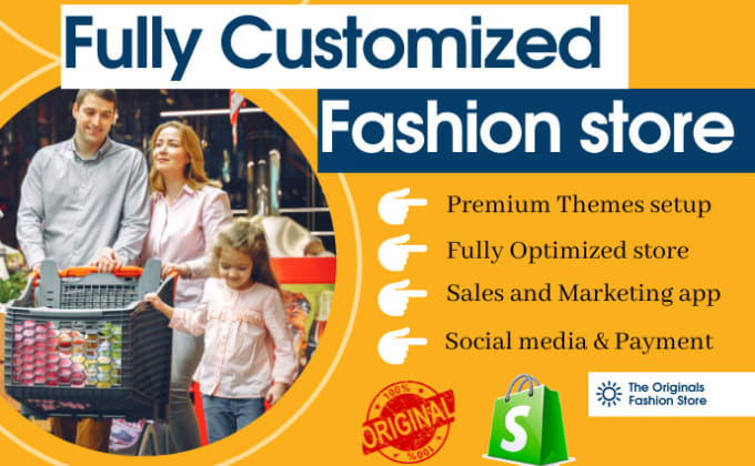 I will build fashion boutique jewelry clothing shopify high ticketing store, FiverrBox